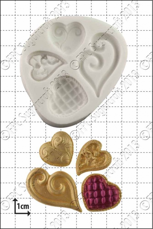 'Fancy Hearts' Silicone Mould