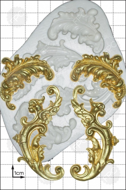 'Feather Scrolls' Silicone Mould