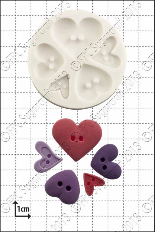 'Heart Buttons' Silicone Mould