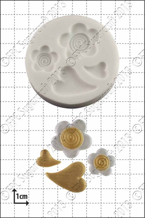 'Hearts and Flowers' Silicone Mould