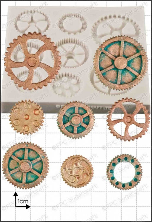 'Steam Punk Cogs & Gears (2)' Silicone Mould