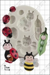 'Peapod Baby & Ladybirds' Silicone Mould
