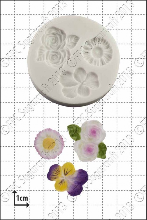 'Viola, Roses & Daisy' Silicone Mould