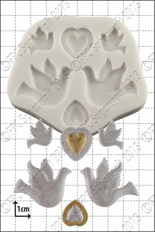 'Doves and Hearts' Silicone Mould